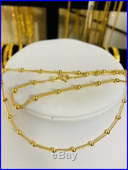 18K Fine Gold Womens Necklace With 16 Long USA Seller 2.5mm