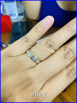 18K Fine Saudi Gold Two Tone Band Unisex Fits Ring 6.5-7 USA Seller