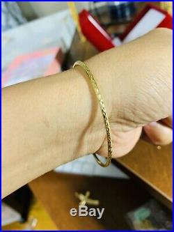 18K Fine Saudi Gold Women's Bangle Bracelet Freesize s-m-l