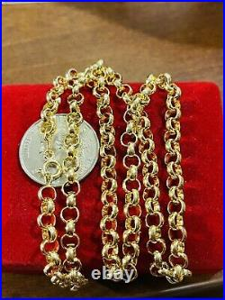 18K Fine Saudi Gold Womens 20 Long Rolo Chain Necklace 5mm Wide 7.2g Fast Ship