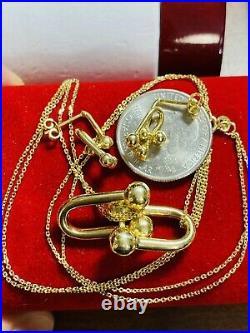 18K Fine Saudi Gold Womens Handmade Hardwear Necklace 17 & Earring 8.7g 2mm
