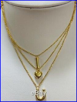 18K Fine Saudi Gold Womens IU Necklace With 17-18 Long USA Seller(3 Layers)