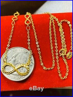18K Fine Yellow Gold Infinity Womens Necklace With 18 Long USA Seller