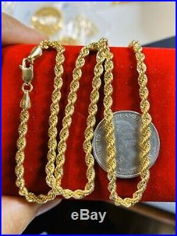 18K Fine Yellow Gold Rope Womens Necklace With 18 Long USA Seller 3.2mm