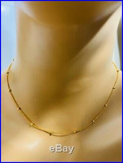 18K Fine Yellow Gold Womens Necklace With 16 Long USA Seller