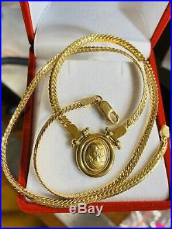 18K Fine Yellow Saudi Gold 18 Cameo Necklace With 3.2mm Wide USA Seller