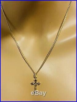 18K Fine Yellow Saudi Gold 20 Long Cross Womens Necklace 2.5mm 4.02 US Seller