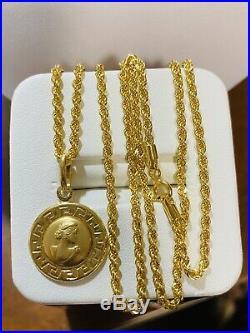 18K Fine Yellow Saudi Gold 20 Long Queen Womens Necklace 2mm 4.6g US Seller