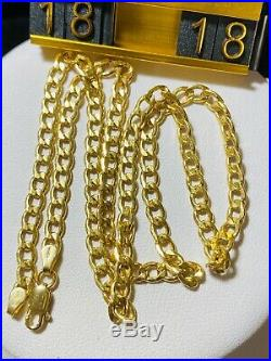 18K Fine Yellow Saudi Gold Curb Womens Necklace With 18 Long 4mm USA Seller