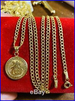 18K Fine Yellow Saudi Gold Dragon Womens Necklace & Pendant With 20 Long 2.5mm