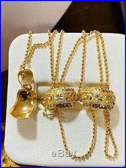 18K Fine Yellow Saudi Gold Set Necklace & Earring With 18 Long Chain USA Seller
