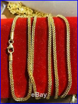 18K Fine Yellow Saudi Gold Wheat Womens Chain Necklace With 20 Long 2mm