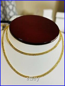 18K Fine Yellow Saudi Gold Womens Cuban Chain Necklace With 20 Long 2.5mm