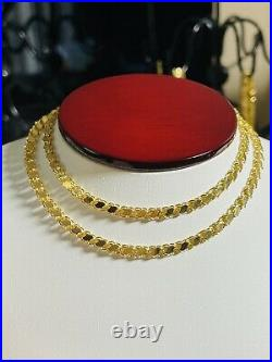 18K Fine Yellow Saudi Gold Womens Damascus Chain Necklace With 20 Long 4mm 8.65g
