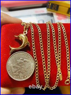 18K Fine Yellow Saudi Gold Womens Dolphin Necklace & Pendant With 20 2.5mm 4g