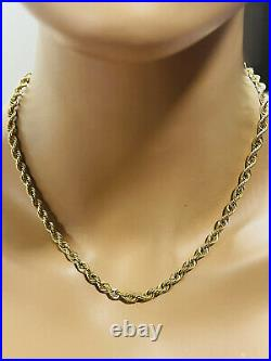 18K Fine Yellow Saudi Gold Womens Rope Chain Necklace With 18 long 5mm 10.87g