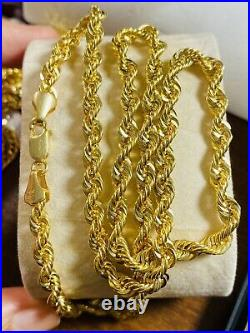 18K Fine Yellow Saudi Gold Womens Rope Chain Necklace With 20 5mm 12.61g