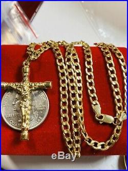 18K Fine Yellow Saudi Gold Womens Set Cross Necklace 18 Long USA Seller 4mm