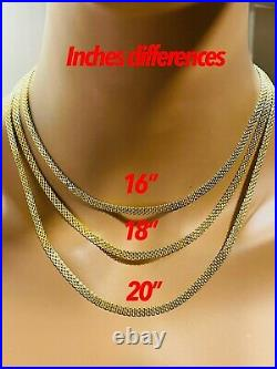18K Fine Yellow Saudi Gold Womens Tauco Chain Necklace With 16 Long 4mm 5.1g