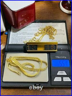 18K Fine Yellow Saudi Gold Womens Tauco Chain Necklace With 18 Long 4mm 5.57g