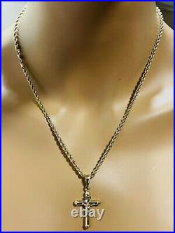 18K Fine Yellow Saudi UAE Gold Womens Cross Necklace With 20 Long 3mm 5.8grams