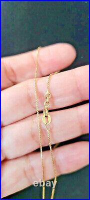 18K Real Italian Solid Gold Anklet, Box chain, 9long &1mm width