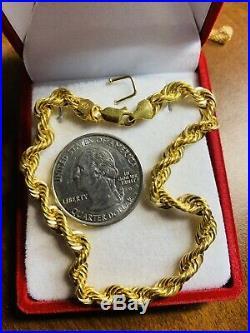 18K Saudi Gold 750 Fine Rope Mens Bracelet 8 Long 5mm USA Seller