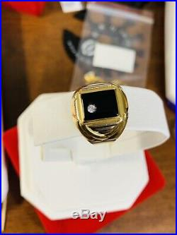 18K Saudi Gold 750 Mens With Black Stone Onyx Ring 11.5 Usa Seller