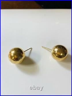 18K Saudi Gold 750 Womens BALL Stud Earring Large Size FAST SHIP USA Seller
