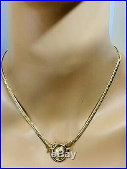18K Saudi Gold Cleopatra Necklace & Earring With 17 Long