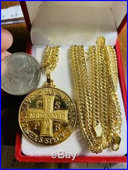 18K Saudi Gold Cross Necklace With 20 Long Chain