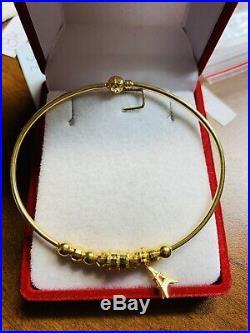 18K Saudi Gold Fine Bangle Bracelet Sm/Med 6-7
