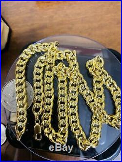 18K Saudi Gold Mens Chain Necklace With 22 Long