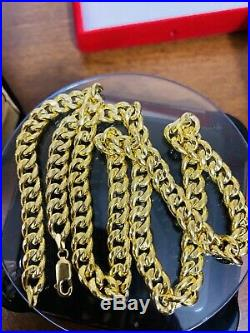 18K Saudi Gold Mens Chain Necklace With 24 Long