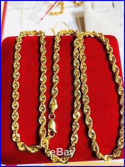 18K Saudi Gold Mens Rope Necklace With 24 Long