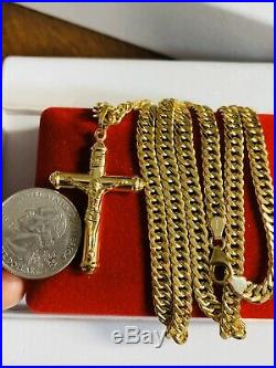 18K Saudi Gold Mens Womens Cross Necklace With 24 Long 6mm USA Seller