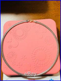 18K Saudi Gold Omega Chain Womens Necklace 16 Long Choker Two Tone 4mm