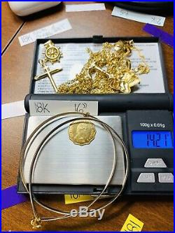 18K Saudi Gold Queen Necklace With 16 Omega Reversible Chain