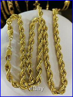 18K Saudi Gold Rope Chain Necklace With 20 Long 5mm