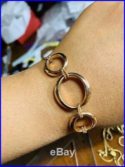 18K Saudi Gold Rose Gold Womens Bracelet 7 Long