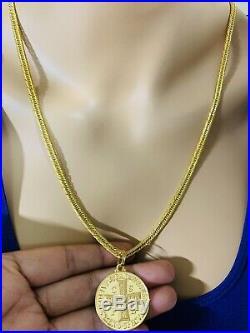 18K Saudi Gold Set Cross Necklace With 24 Long