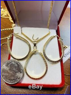 18K Saudi Gold Set Hoops Necklace & Earring With 18 Long