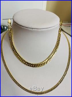 18K Saudi Gold Set Necklace & Bracelet 8 With 22 Long Chain
