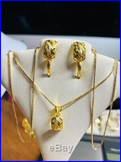 18K Saudi Gold Set Necklace & Earring With 18 Long