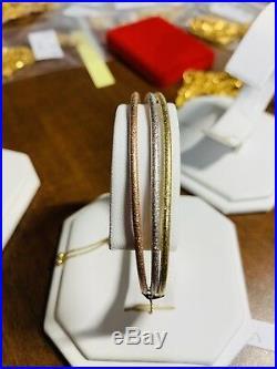 18K Saudi Gold Tri Color Bracelet Freesize Adjustable