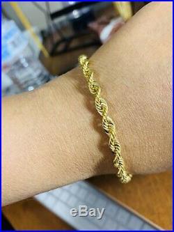 18K Saudi Gold Unisex Rope Bracelet 8