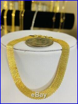 18K Saudi Gold Womens Bracelet 7.25 Long