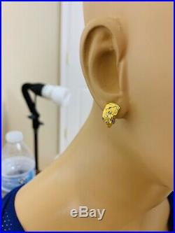 18K Saudi Gold Womens Set Earring, Pendant & Ring 7.5