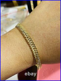 18K Saudi Real Fine Gold MENS WOMEN'S Cuban Bracelet FITS 8.5 Long 6mm 4.95gram