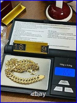 18K Saudi Real Fine UAE Gold MENS Size Cuban Bracelet FITS 9.0 Long 8mm 652g